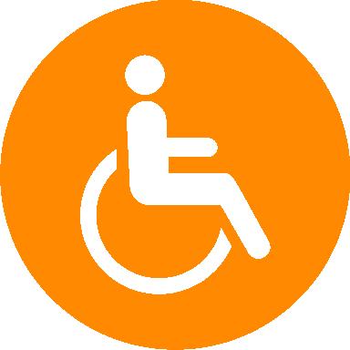 Auf einem orangen Kreis ist eine stilisierte Person in einem Rollstuhl abgebildet.
