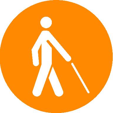 Auf einem orangen Kreis ist eine stilisierte Person mit einem weißen Langstock abgebildet.